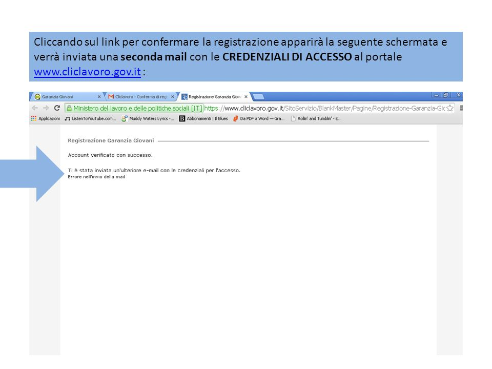 Cliccando sul link per confermare la registrazione apparirà la seguente schermata e verrà inviata una seconda mail con le CREDENZIALI DI ACCESSO al portale www.cliclavoro.gov.it :