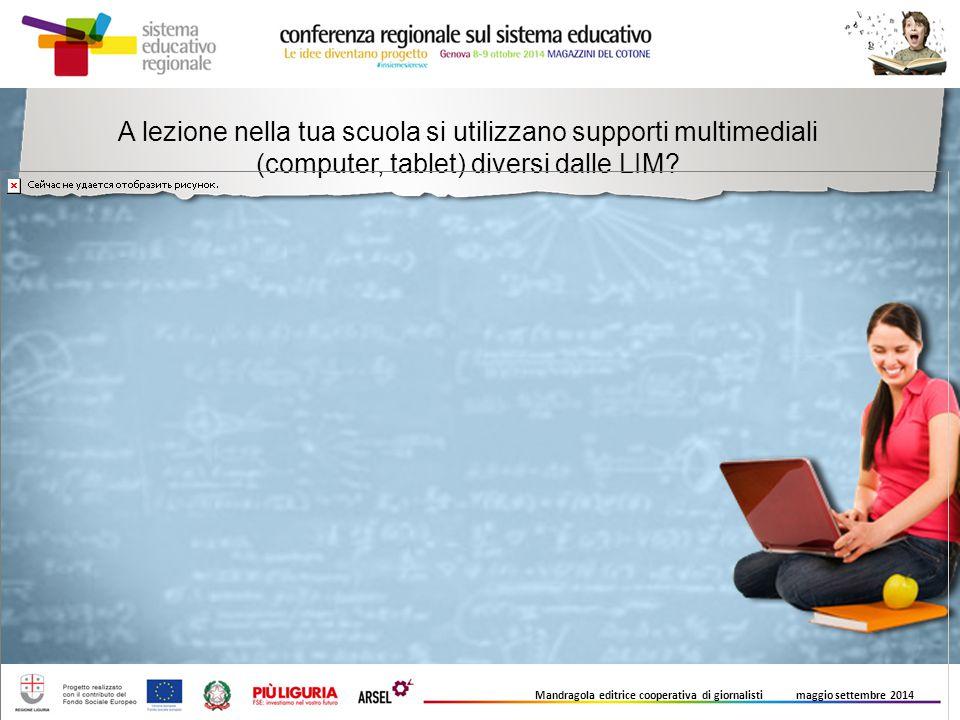 A lezione nella tua scuola si utilizzano supporti multimediali (computer, tablet) diversi dalle LIM