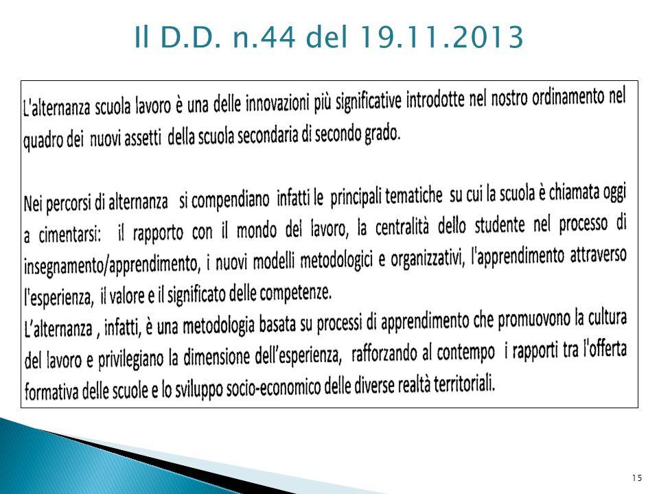 Il D.D. n.44 del 19.11.2013