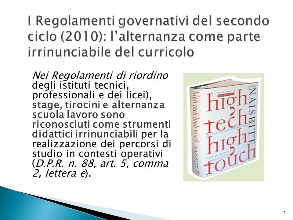 I Regolamenti governativi del secondo ciclo (2010): l'alternanza come parte irrinunciabile del curricolo