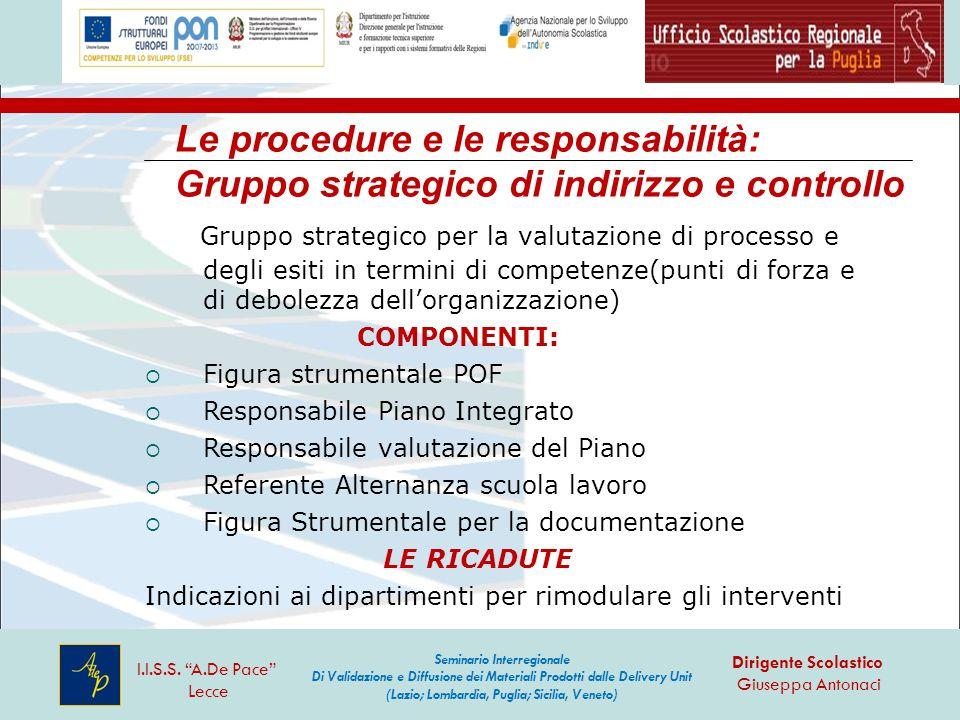 Le procedure e le responsabilità: Gruppo strategico di indirizzo e controllo