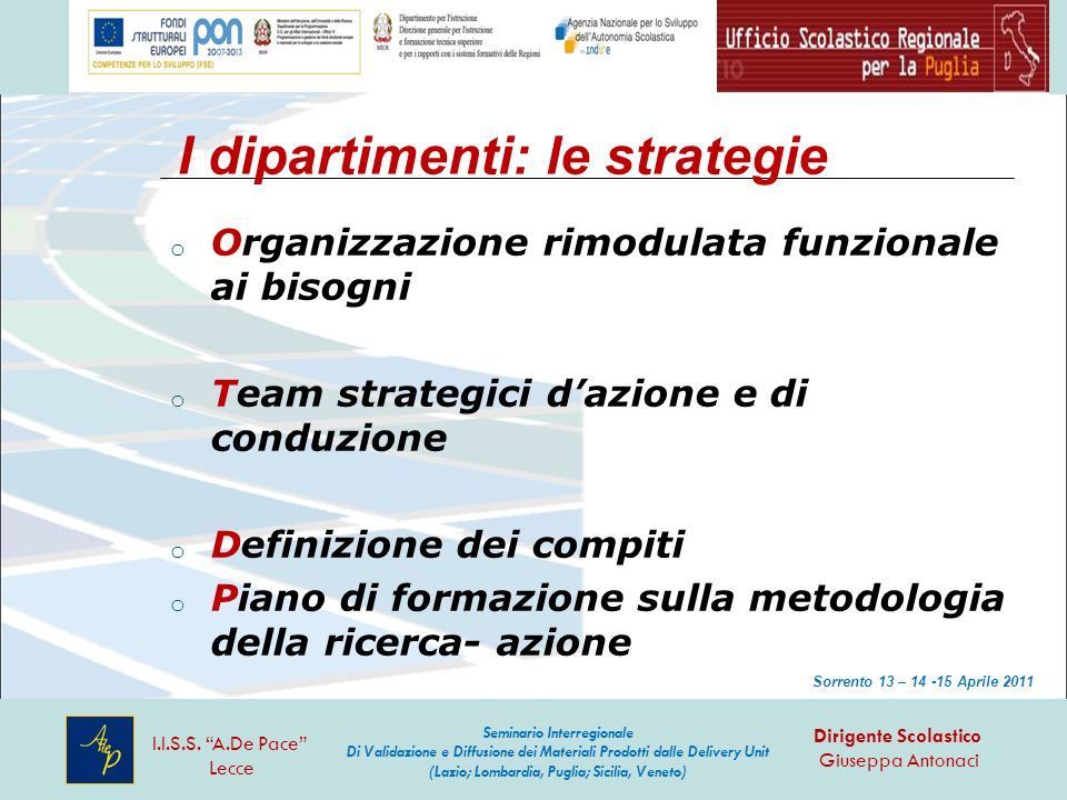 I dipartimenti: le strategie