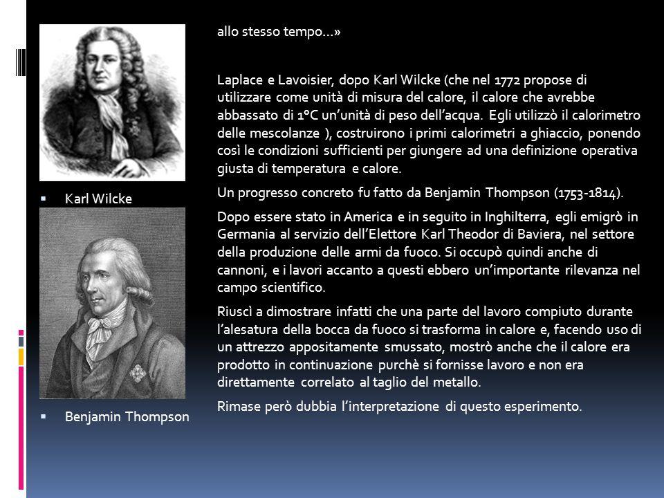 Karl Wilcke Benjamin Thompson. allo stesso tempo…»