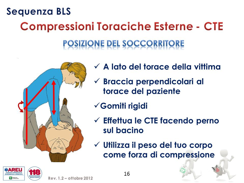 Compressioni Toraciche Esterne - CTE POSIZIONE DEL SOCCORRITORE