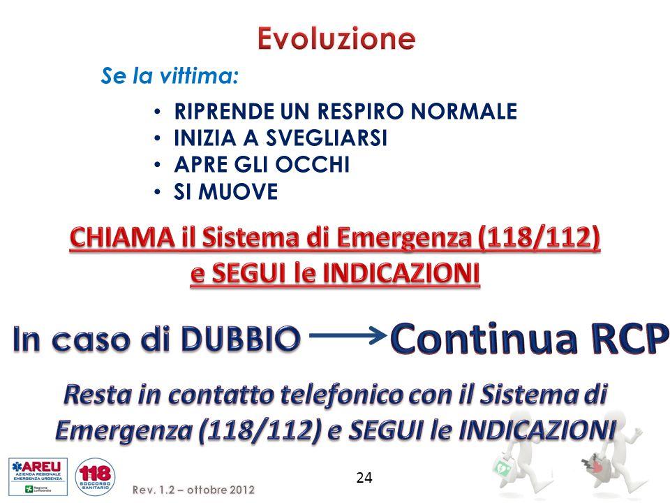 CHIAMA il Sistema di Emergenza (118/112) e SEGUI le INDICAZIONI