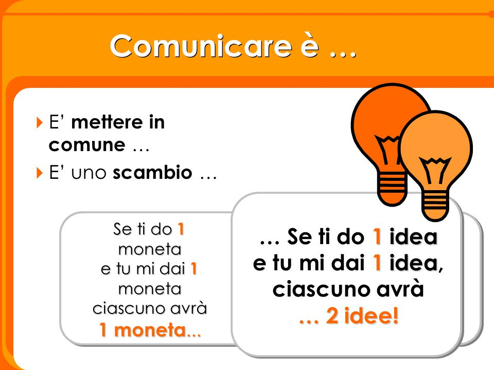 Comunicare è … … Se ti do 1 idea e tu mi dai 1 idea, ciascuno avrà