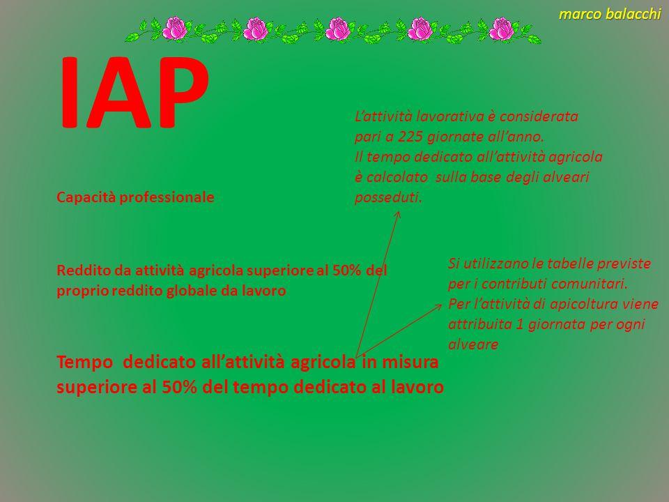 IAP L'attività lavorativa è considerata pari a 225 giornate all'anno.