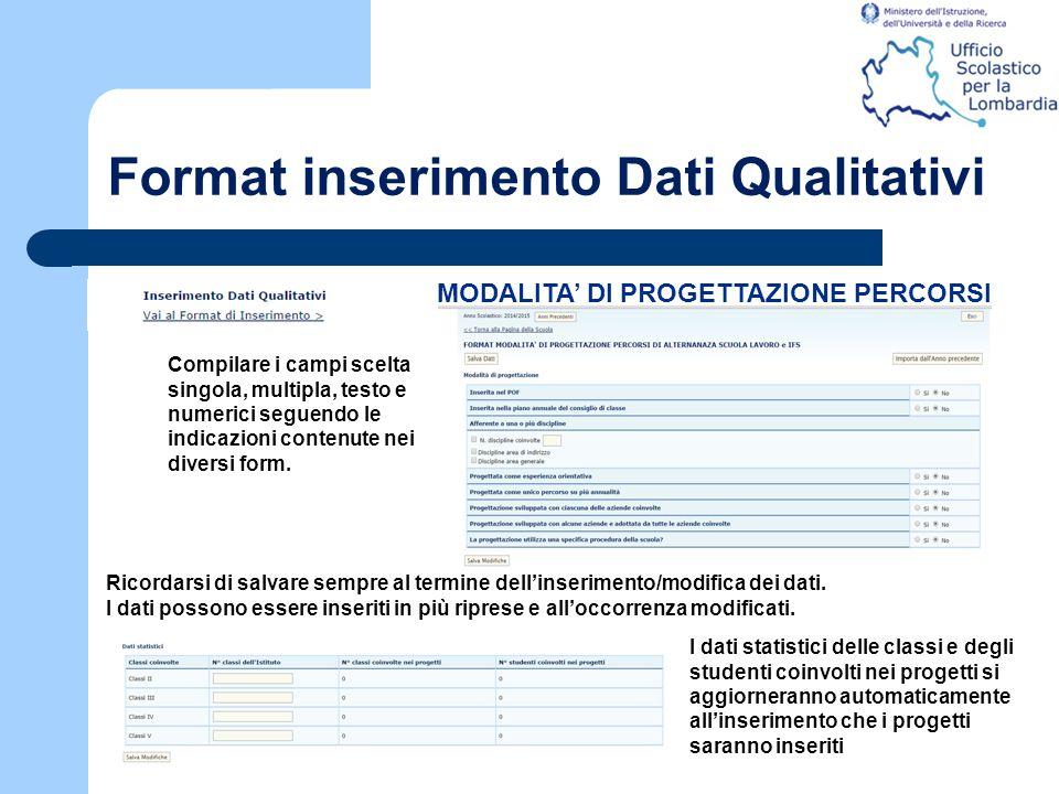 Format inserimento Dati Qualitativi