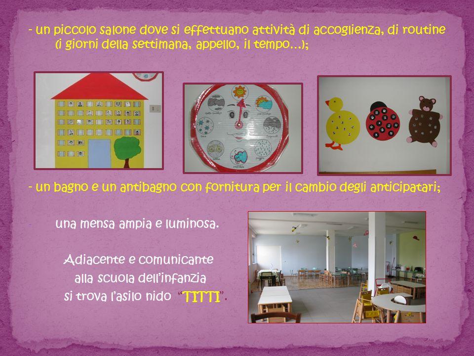 - un piccolo salone dove si effettuano attività di accoglienza, di routine (i giorni della settimana, appello, il tempo…);