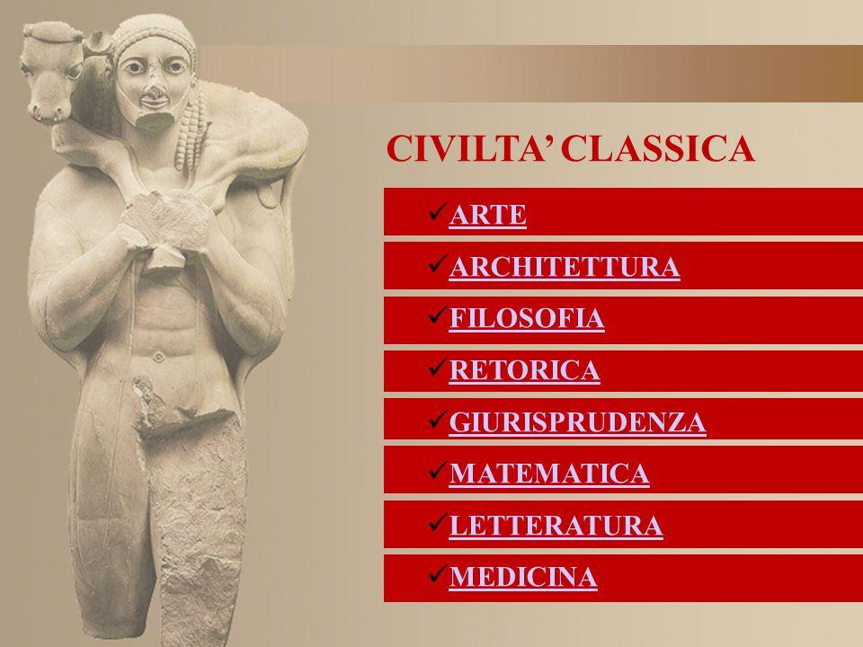 CIVILTA' CLASSICA ARTE ARCHITETTURA FILOSOFIA RETORICA GIURISPRUDENZA