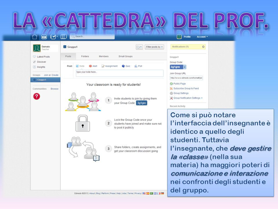 LA «CATTEDRA» DEL PROF.