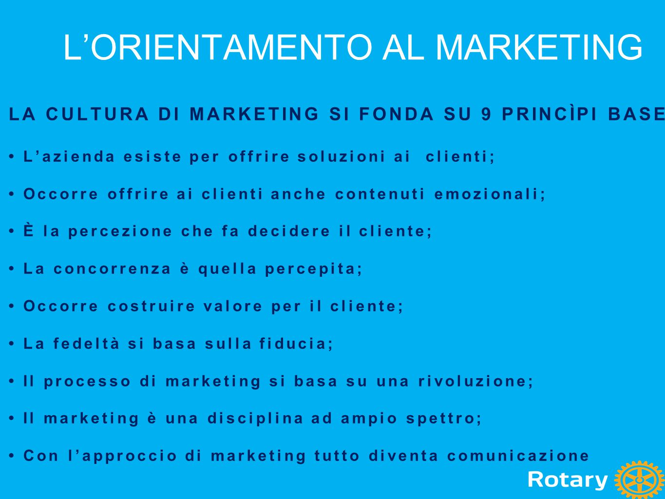 L'ORIENTAMENTO AL MARKETING