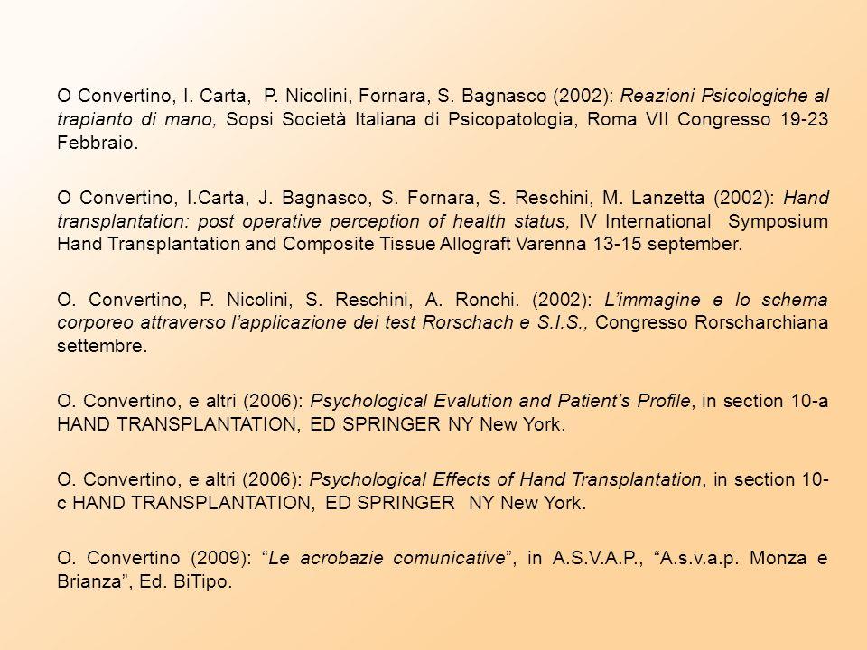 O Convertino, I. Carta, P. Nicolini, Fornara, S