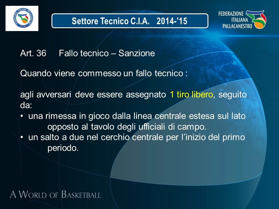 Settore Tecnico C.I.A. 2014-'15 Art. 36 Fallo tecnico – Sanzione