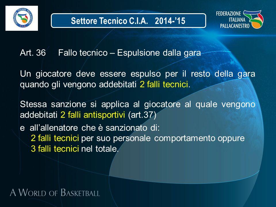 Settore Tecnico C.I.A. 2014-'15 Art. 36 Fallo tecnico – Espulsione dalla gara.