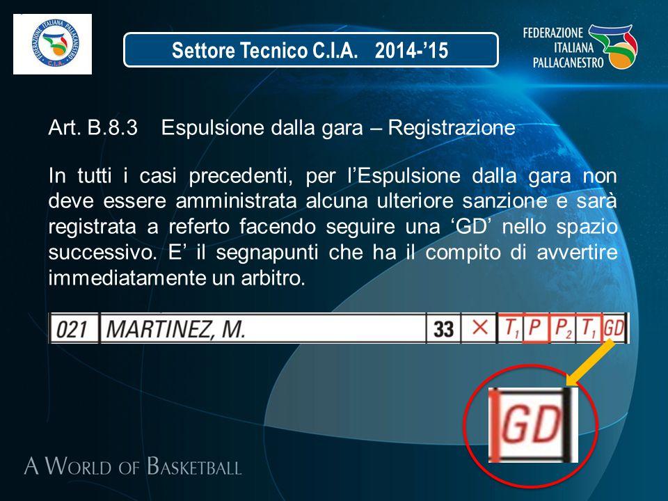 Settore Tecnico C.I.A. 2014-'15 Art. B.8.3 Espulsione dalla gara – Registrazione.