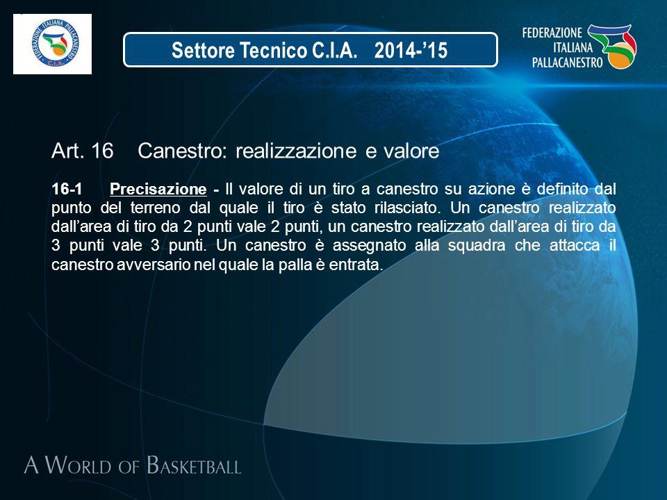 Settore Tecnico C.I.A. 2014-'15 Art. 16 Canestro: realizzazione e valore.