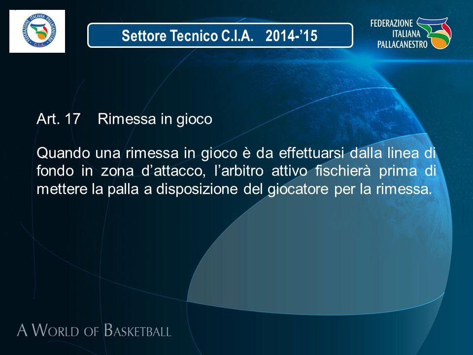 Settore Tecnico C.I.A. 2014-'15 Art. 17 Rimessa in gioco