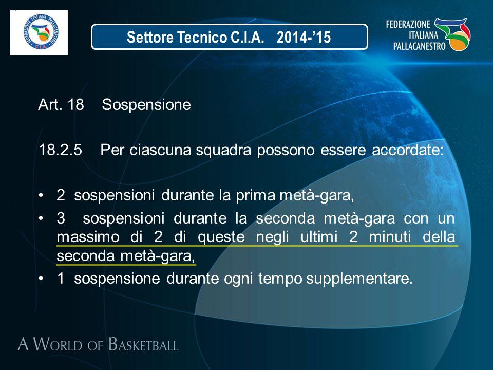 Settore Tecnico C.I.A. 2014-'15 Art. 18 Sospensione