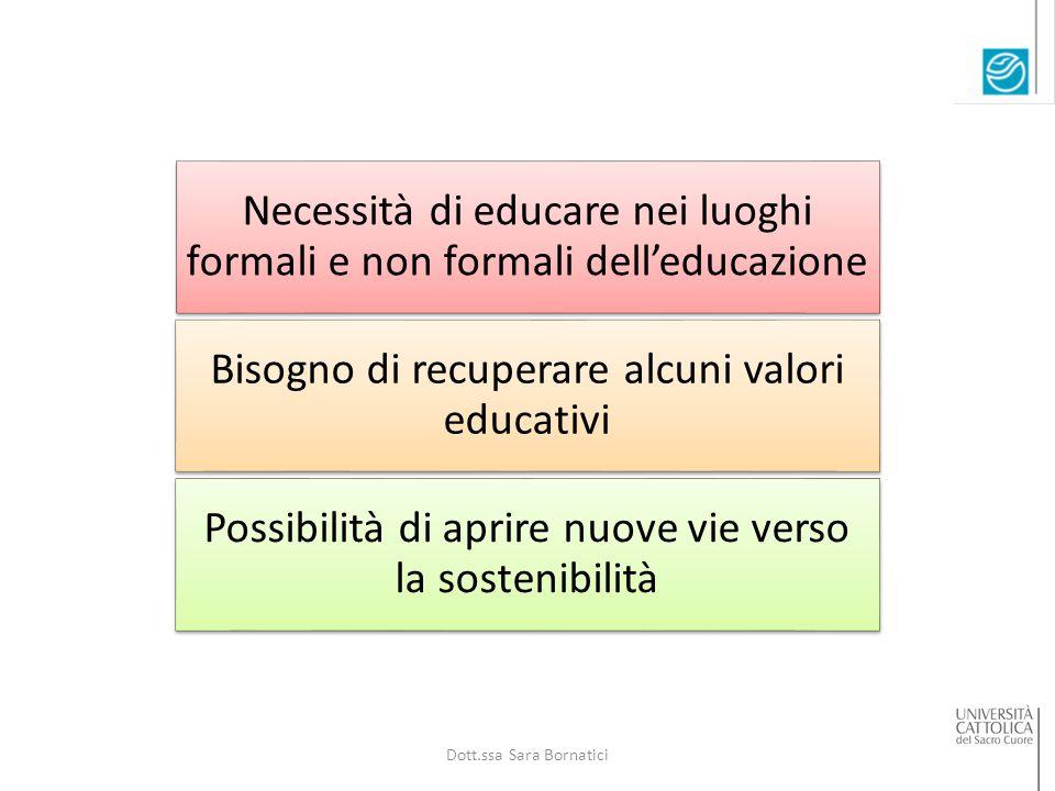 Necessità di educare nei luoghi formali e non formali dell'educazione