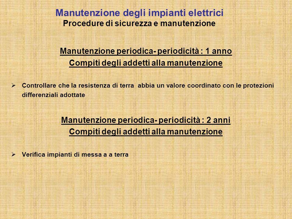 Manutenzione degli impianti elettrici Procedure di sicurezza e manutenzione