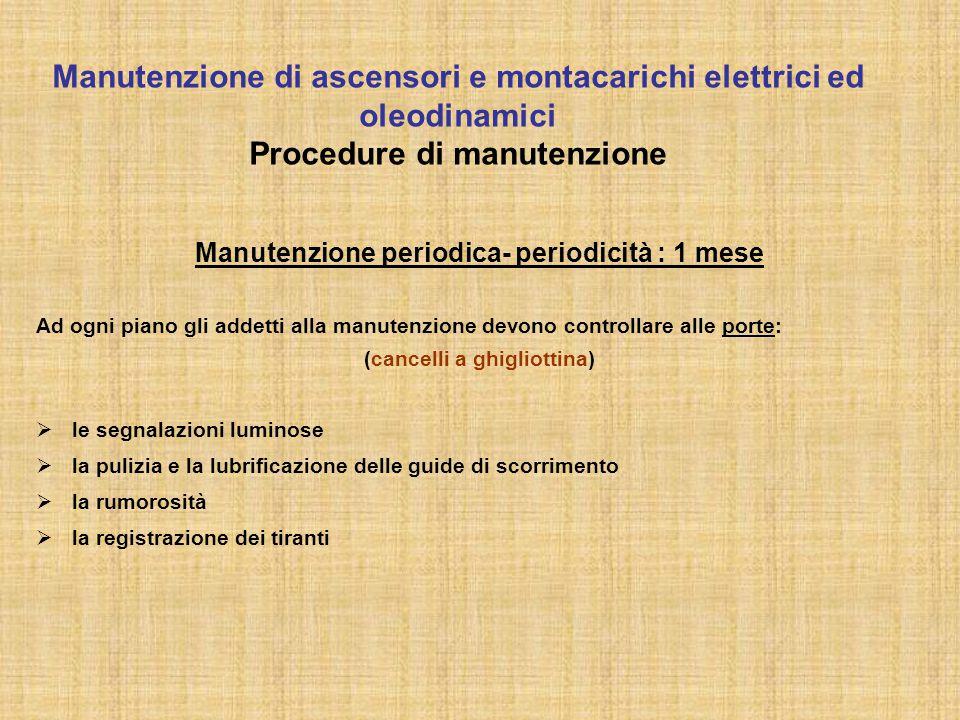 Manutenzione periodica- periodicità : 1 mese (cancelli a ghigliottina)