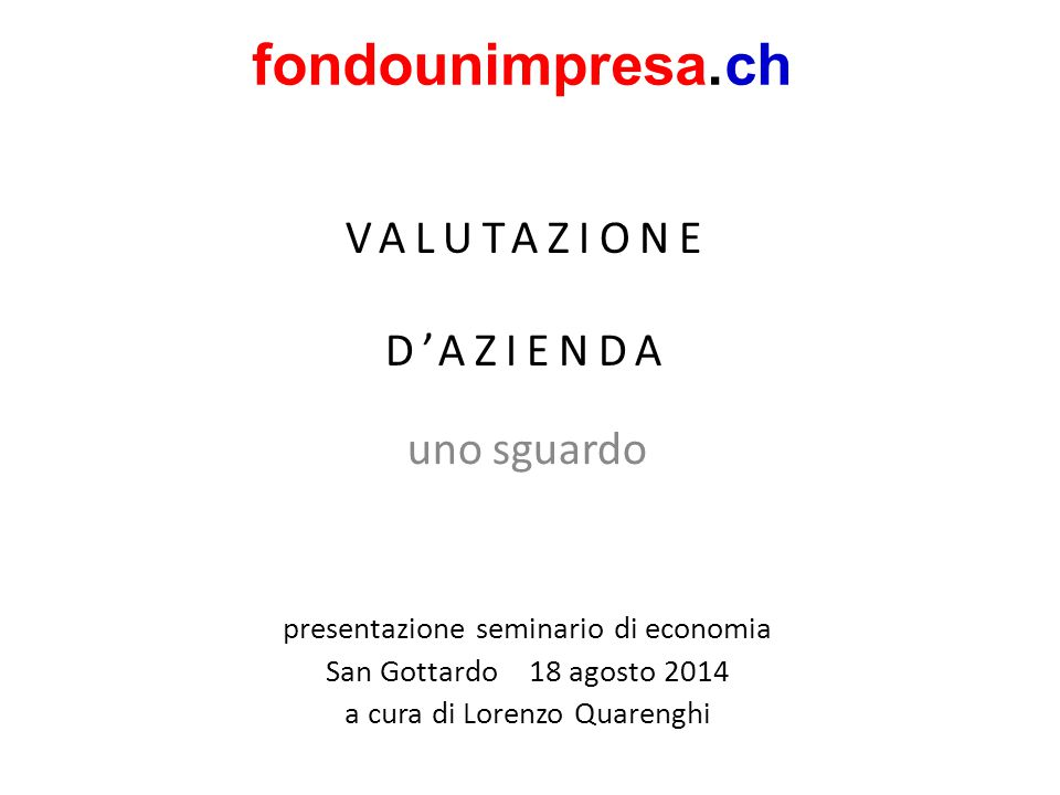 VALUTAZIONE D'AZIENDA