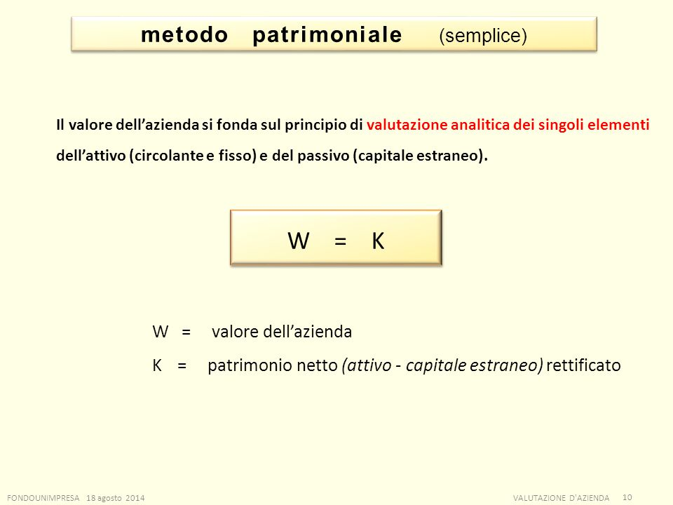 metodo patrimoniale (semplice)