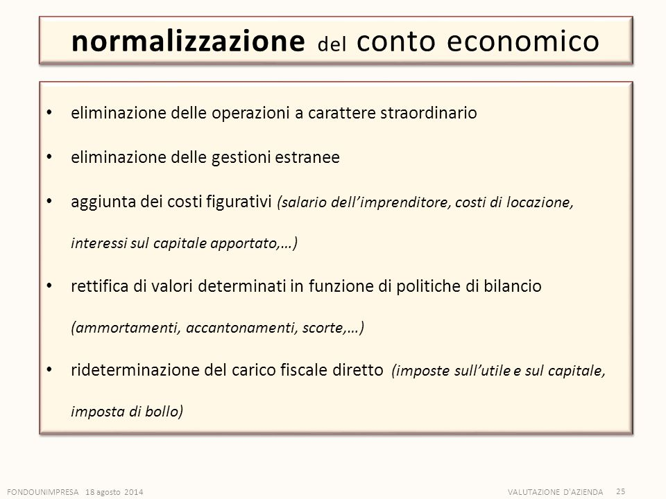 normalizzazione del conto economico