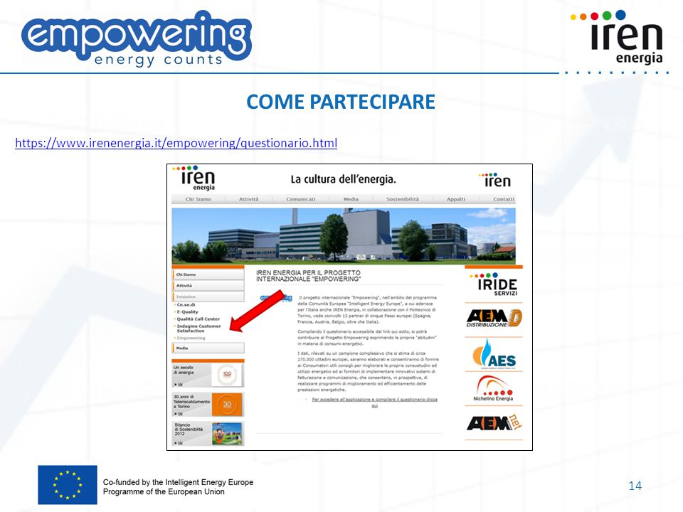 COME PARTECIPARE https://www.irenenergia.it/empowering/questionario.html
