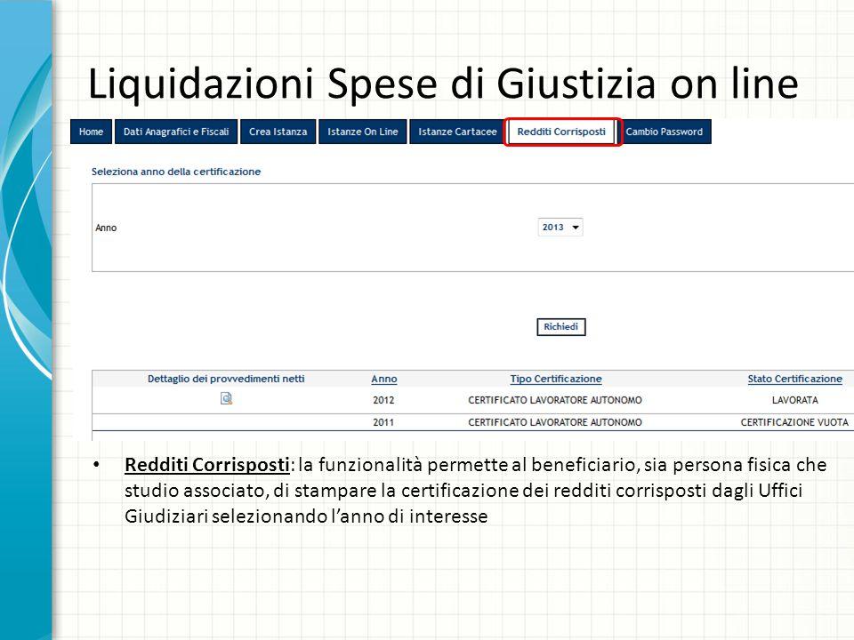 Liquidazioni Spese di Giustizia on line