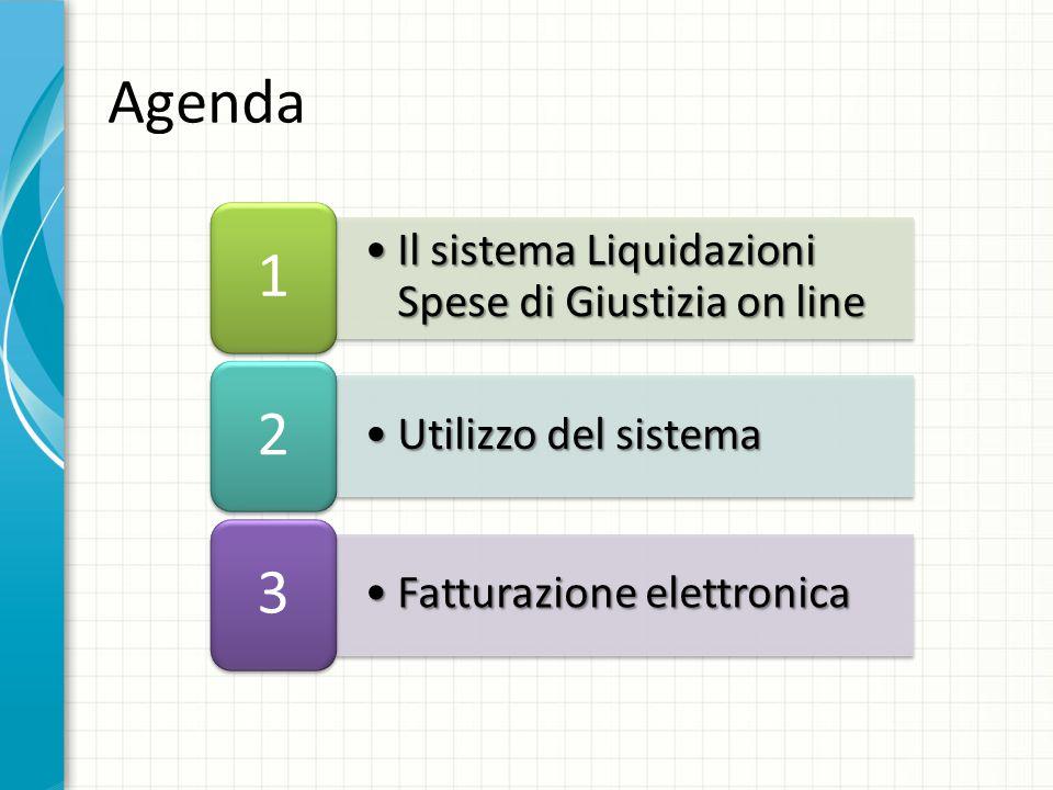 Agenda 1 2 3 Il sistema Liquidazioni Spese di Giustizia on line