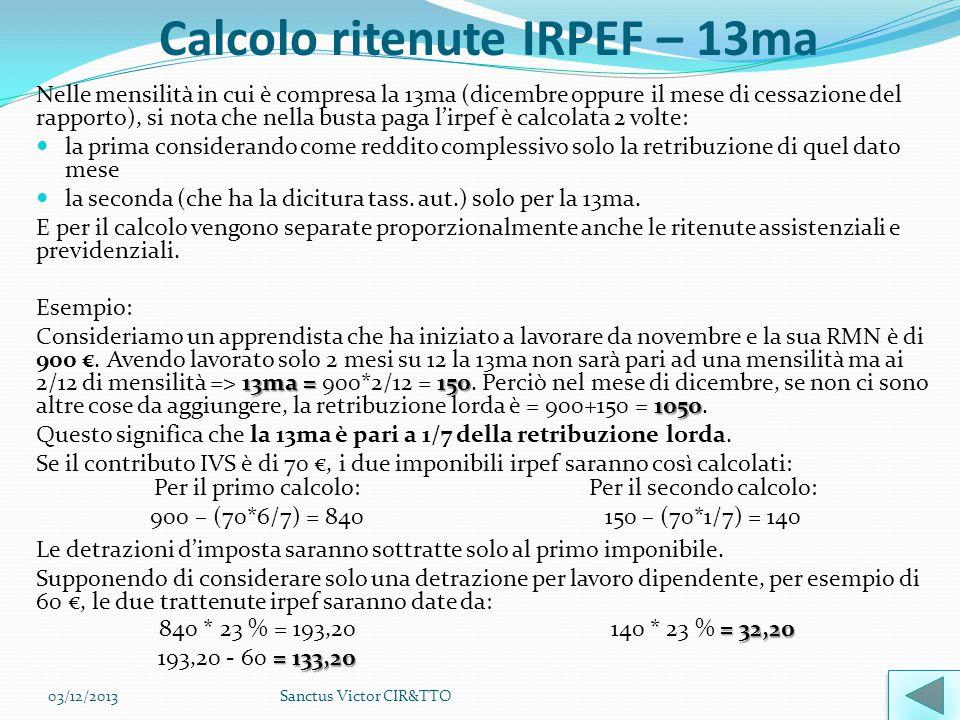Calcolo ritenute IRPEF – 13ma