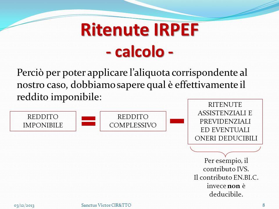 Ritenute IRPEF - calcolo -