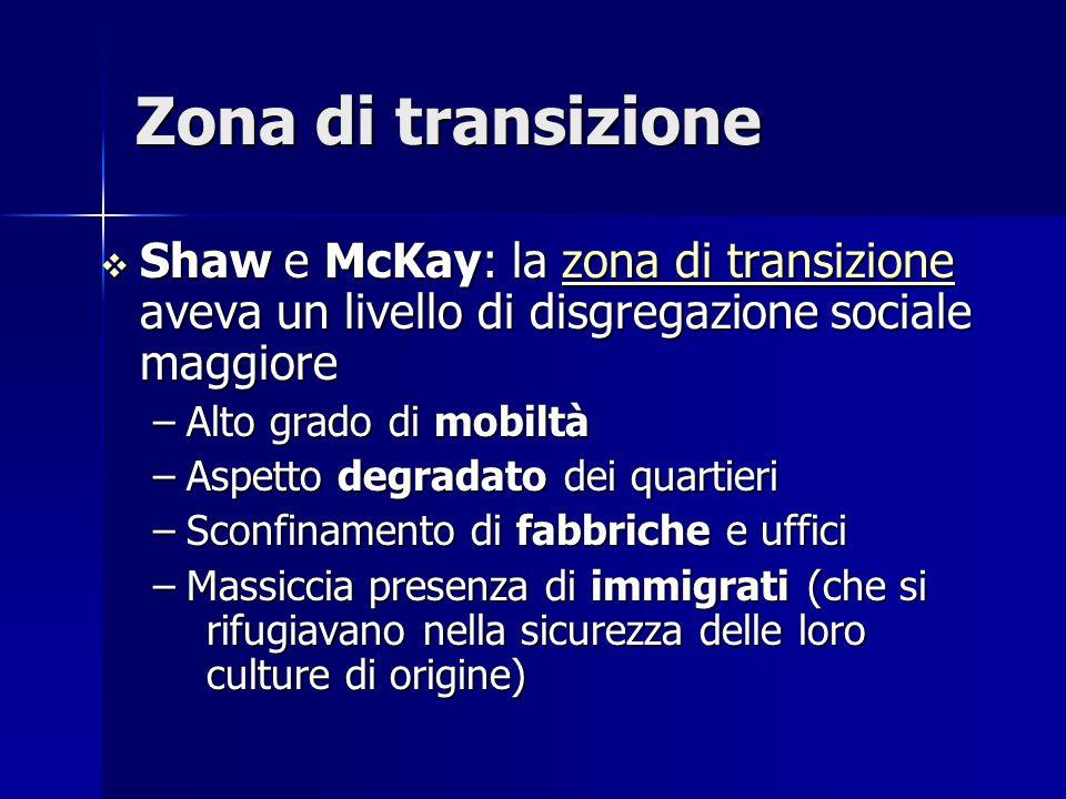 Zona di transizione Shaw e McKay: la zona di transizione aveva un livello di disgregazione sociale maggiore.