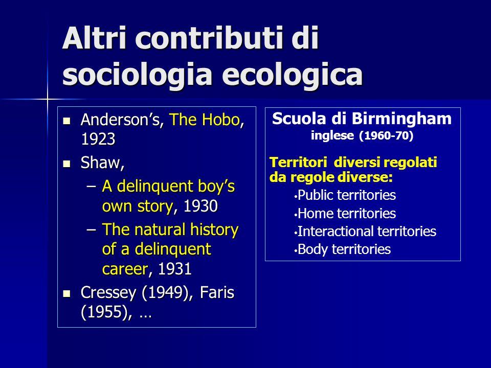 Altri contributi di sociologia ecologica
