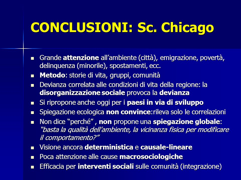 CONCLUSIONI: Sc. Chicago