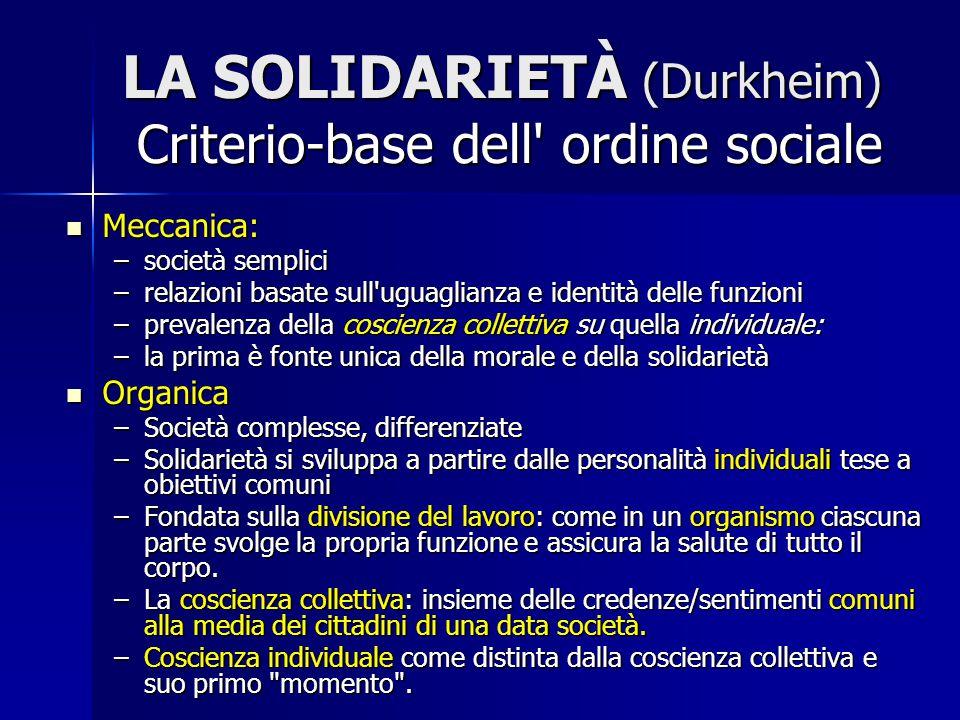 LA SOLIDARIETÀ (Durkheim) Criterio-base dell ordine sociale