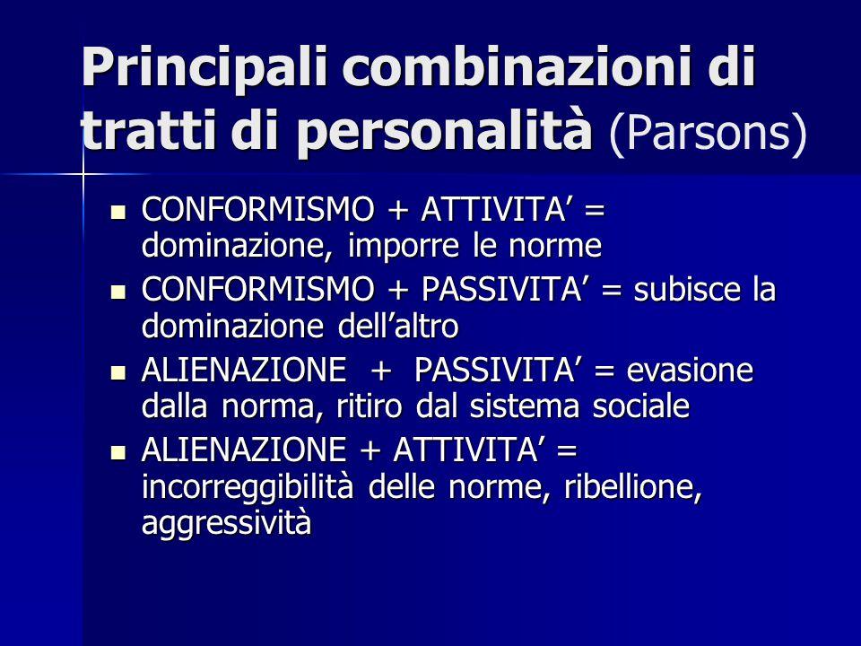 Principali combinazioni di tratti di personalità (Parsons)