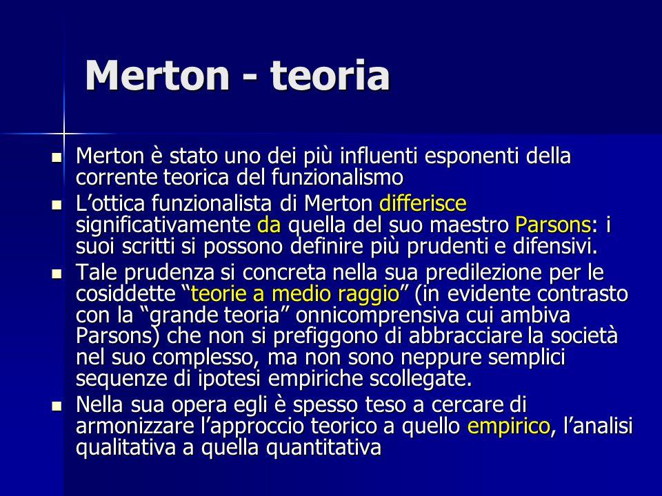 Merton - teoria Merton è stato uno dei più influenti esponenti della corrente teorica del funzionalismo.