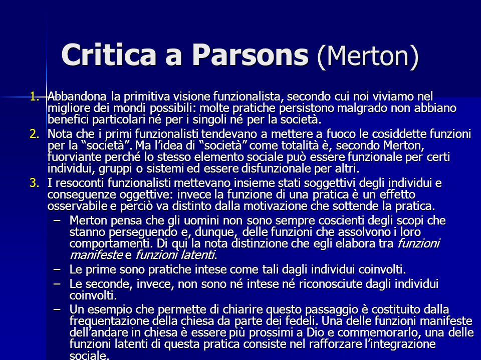 Critica a Parsons (Merton)