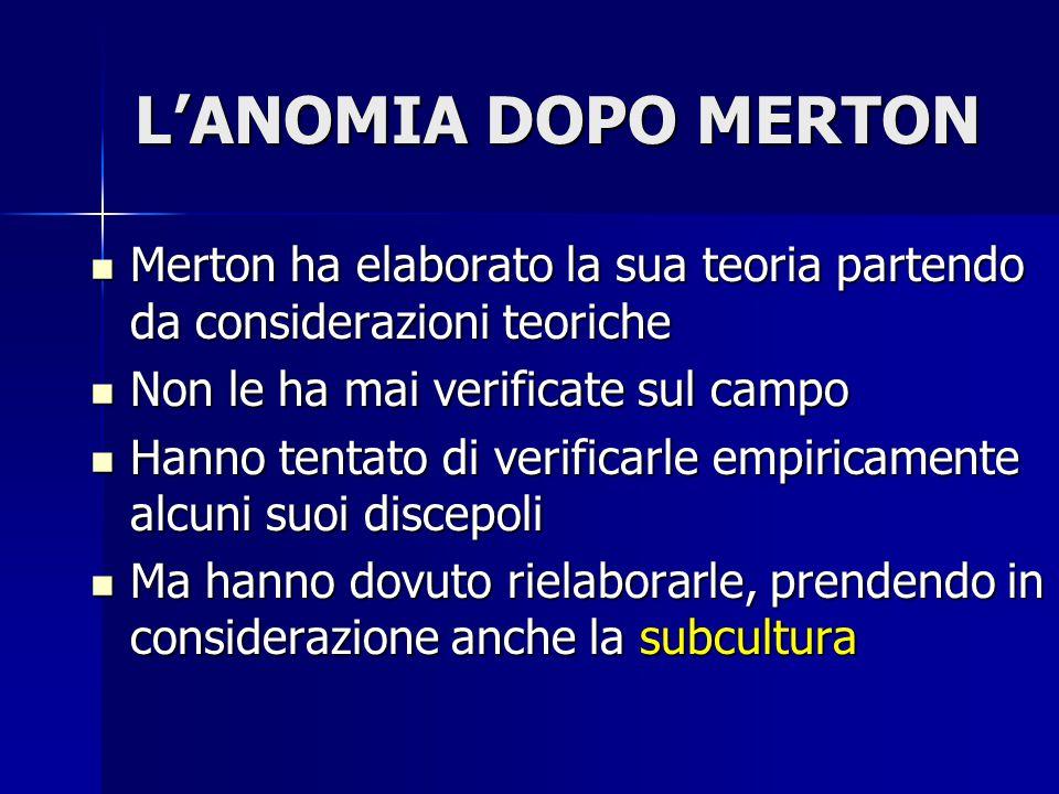 L'ANOMIA DOPO MERTON Merton ha elaborato la sua teoria partendo da considerazioni teoriche. Non le ha mai verificate sul campo.