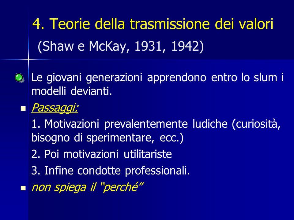 4. Teorie della trasmissione dei valori (Shaw e McKay, 1931, 1942)