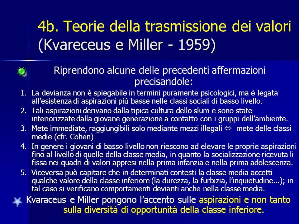 4b. Teorie della trasmissione dei valori (Kvareceus e Miller - 1959)
