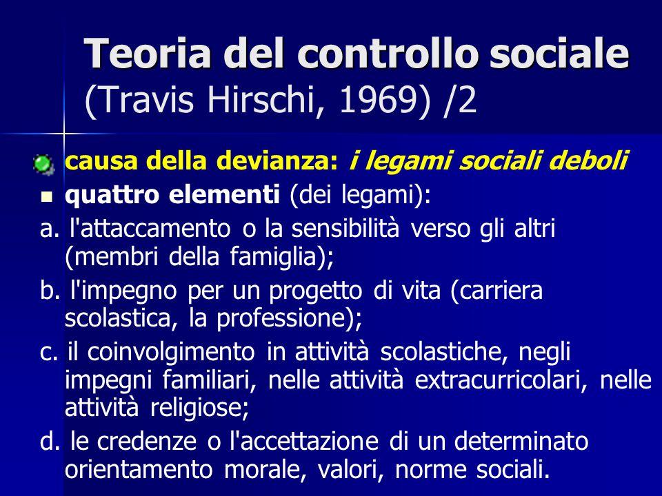 Teoria del controllo sociale (Travis Hirschi, 1969) /2