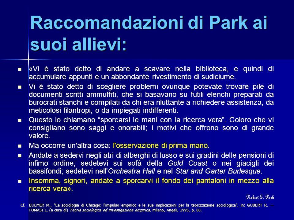 Raccomandazioni di Park ai suoi allievi: