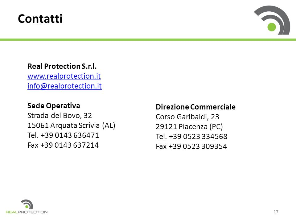 Contatti Real Protection S.r.l. www.realprotection.it