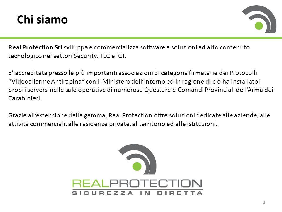 Chi siamo Real Protection Srl sviluppa e commercializza software e soluzioni ad alto contenuto tecnologico nei settori Security, TLC e ICT.