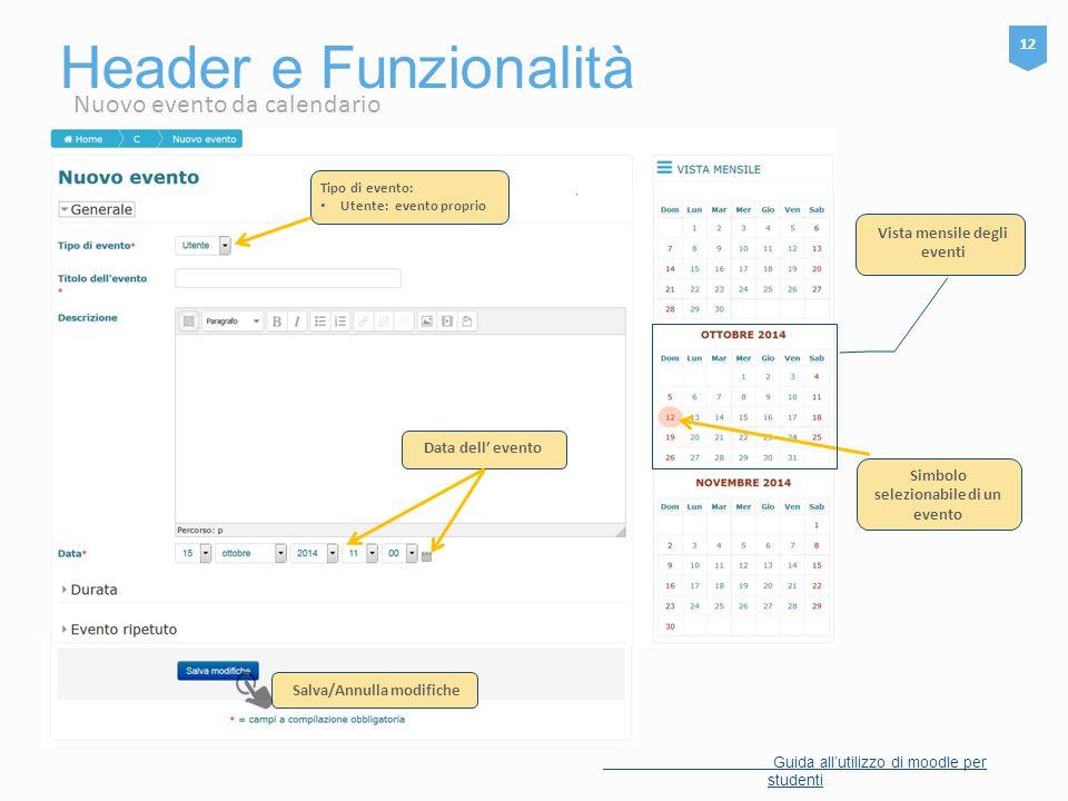Header e Funzionalità Nuovo evento da calendario 12
