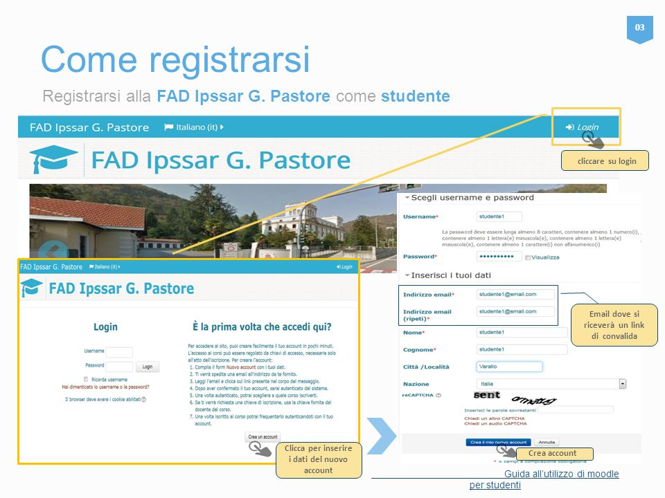 Come registrarsi Registrarsi alla FAD Ipssar G. Pastore come studente